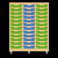 Storix Eigendomskast beuken 3 kol. 12 laden groen-blauw-groen