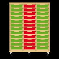 Storix Eigendomskast beuken 3 kol. 12 laden groen-rood-groen