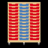 Storix Eigendomskast beuken 3 kol. 12 laden rood-blauw-rood