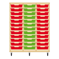 Storix Eigendomskast beuken 3 kol. 12 laden rood-groen-rood
