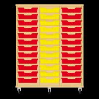 Storix Eigendomskast beuken 3 kol. 12 laden rood-geel-rood