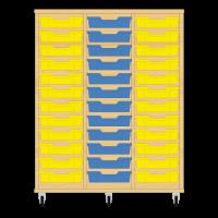 Storix Eigendomskast beuken 3 kol. 12 laden geel-blauw-geel