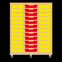 Storix Eigendomskast beuken 3 kol. 12 laden geel-rood-geel