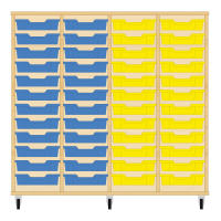 Storix Eigendomskast beuken 4 kol. 12 laden blauw-blauw-geel-geel