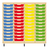 Storix Eigendomskast beuken 4 kol. 12 laden blauw-rood-geel-groen