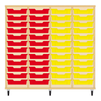 Storix Eigendomskast beuken 4 kol. 12 laden rood-rood-geel-geel