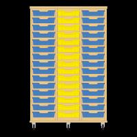 Storix Eigendomskast beuken 3 kol. 15 laden blauw-geel-blauw
