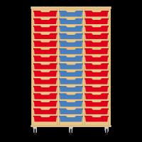 Storix Eigendomskast beuken 3 kol. 15 laden rood-blauw-rood