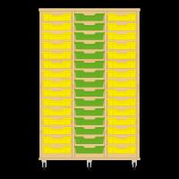 Storix Eigendomskast beuken 3 kol. 15 laden geel-groen-geel