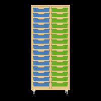 Storix Eigendomskast beuken 2 kol. 15 laden blauw-groen