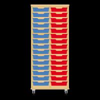 Storix Eigendomskast beuken 2 kol. 15 laden blauw-rood