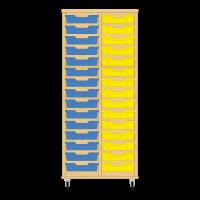 Storix Eigendomskast beuken 2 kol. 15 laden blauw-geel