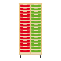 Storix Eigendomskast beuken 2 kol. 15 laden rood-groen