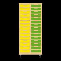 Storix Eigendomskast beuken 2 kol. 15 laden geel-groen