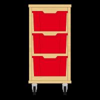 Storix Materiaalkast 12 beuken, B370xH684xD465 - laden rood