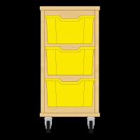 Storix Materiaalkast 12 beuken, B370xH684xD465 - laden geel