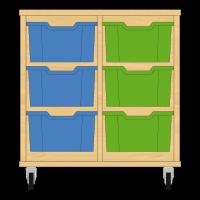 Storix Materiaalkast 12 beuken, B710xH684xD465 - laden blauw-groen