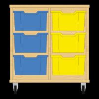 Storix Materiaalkast 12 beuken, B710xH684xD465 - laden blauw-geel