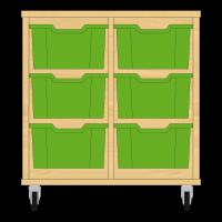 Storix Materiaalkast 12 beuken, B710xH684xD465 - laden groen