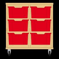 Storix Materiaalkast 12 beuken, B710xH684xD465 - laden rood