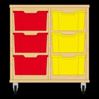 Storix Materiaalkast 12 beuken, B710xH684xD465 - laden rood-geel