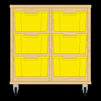 Storix Materiaalkast 12 beuken, B710xH684xD465 - laden geel