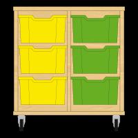Storix Materiaalkast 12 beuken, B710xH684xD465 - laden geel-groen