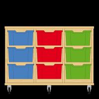 Storix Materiaalkast 12 beuken, B1050xH684xD465 - laden blauw-rood-groen