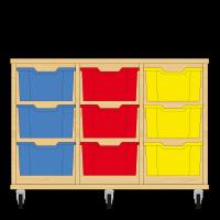 Storix Materiaalkast 12 beuken, B1050xH684xD465 - laden blauw-rood-geel