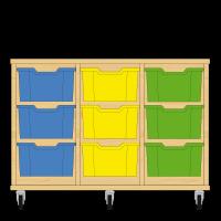 Storix Materiaalkast 12 beuken, B1050xH684xD465 - laden blauw-geel-groen