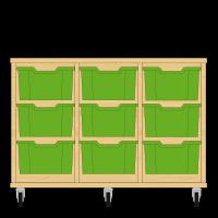 Storix Materiaalkast 12 beuken, B1050xH684xD465 - laden groen