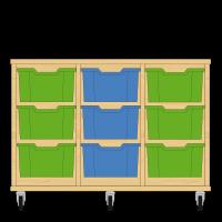 Storix Materiaalkast 12 beuken, B1050xH684xD465 - laden groen-blauw-groen