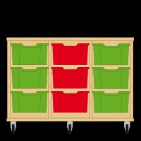 Storix Materiaalkast 12 beuken, B1050xH684xD465 - laden groen-rood-groen
