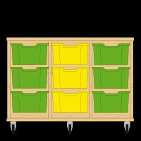 Storix Materiaalkast 12 beuken, B1050xH684xD465 - laden groen-geel-groen