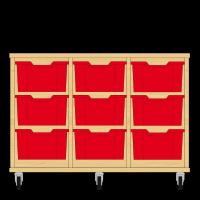 Storix Materiaalkast 12 beuken, B1050xH684xD465 - laden rood