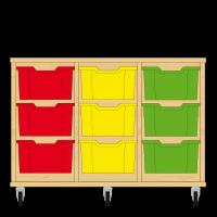 Storix Materiaalkast 12 beuken, B1050xH684xD465 - laden rood-geel-groen