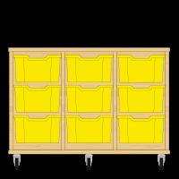 Storix Materiaalkast 12 beuken, B1050xH684xD465 - laden geel