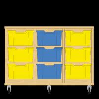 Storix Materiaalkast 12 beuken, B1050xH684xD465 - laden geel-blauw-geel