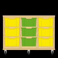 Storix Materiaalkast 12 beuken, B1050xH684xD465 - laden geel-groen-geel