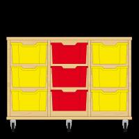 Storix Materiaalkast 12 beuken, B1050xH684xD465 - laden geel-rood-geel