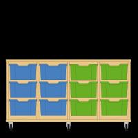 Storix Materiaalkast 12 beuken, B1390xH684xD465 - laden blauw-blauw-groen-groen