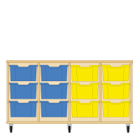 Storix Materiaalkast 12 beuken, B1390xH684xD465 - laden blauw-blauw-geel-geel