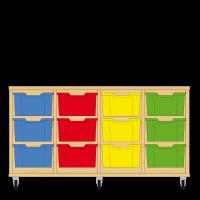 Storix Materiaalkast 12 beuken, B1390xH684xD465 - laden blauw-rood-geel-groen
