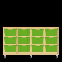 Storix Materiaalkast 12 beuken, B1390xH684xD465 - laden groen