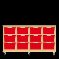 Storix Materiaalkast 12 beuken, B1390xH684xD465 - laden rood
