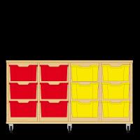 Storix Materiaalkast 12 beuken, B1390xH684xD465 - laden rood-rood-geel-geel
