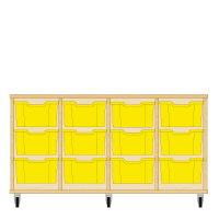 Storix Materiaalkast 12 beuken, B1390xH684xD465 - laden geel