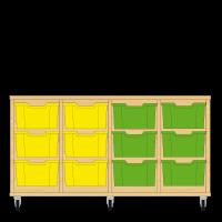 Storix Materiaalkast 12 beuken, B1390xH684xD465 - laden geel-geel-groen-groen