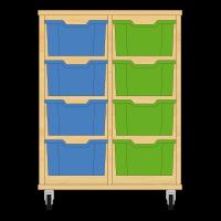 Storix Materiaalkast 12 beuken, B710xH856xD465 - laden blauw-groen