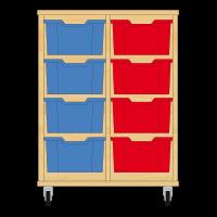 Storix Materiaalkast 12 beuken, B710xH856xD465 - laden blauw-rood